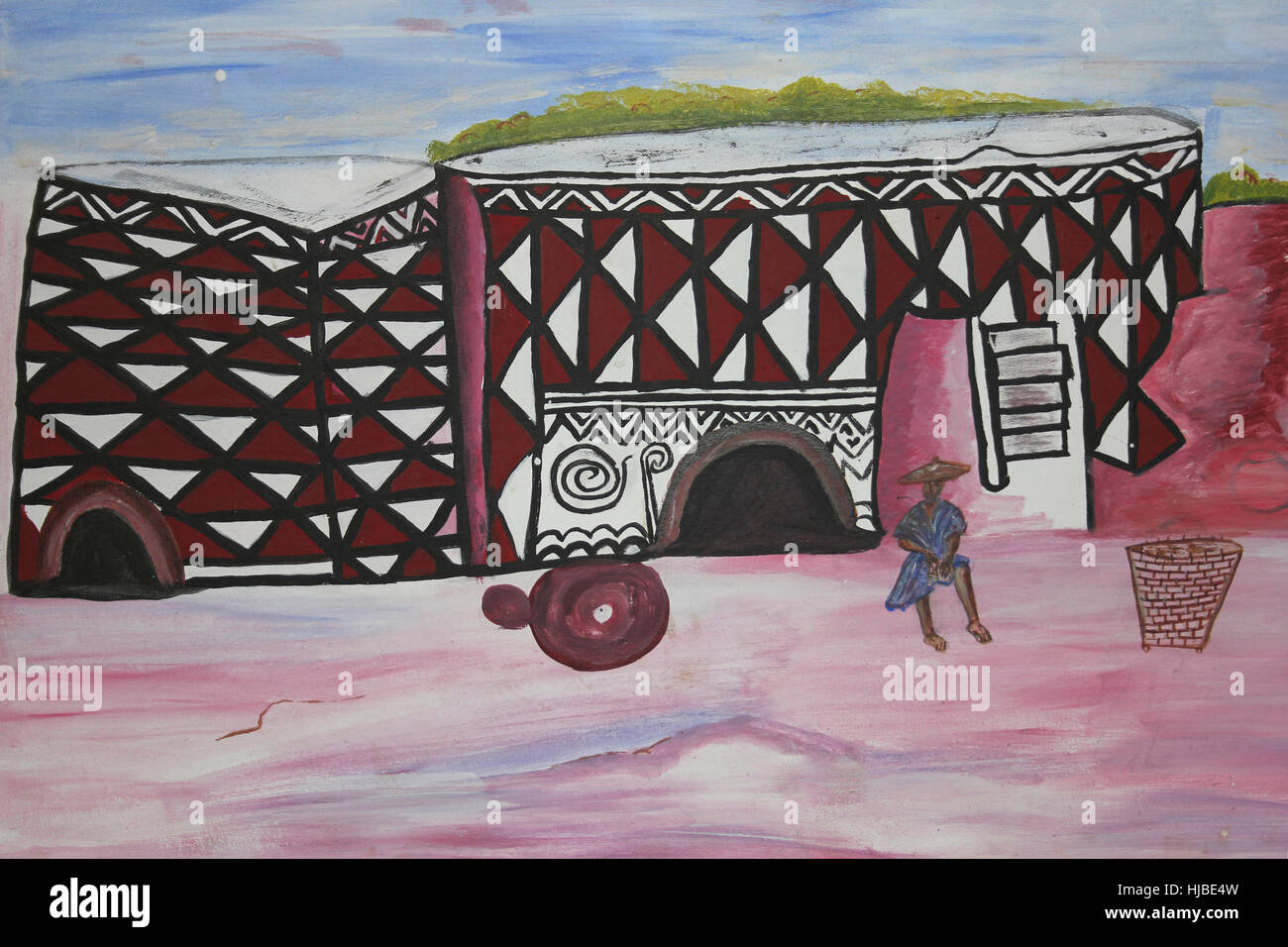 Painting Of A Traditionally Decorated Dwelling In Sirigu Village, Ghana - Stock Image