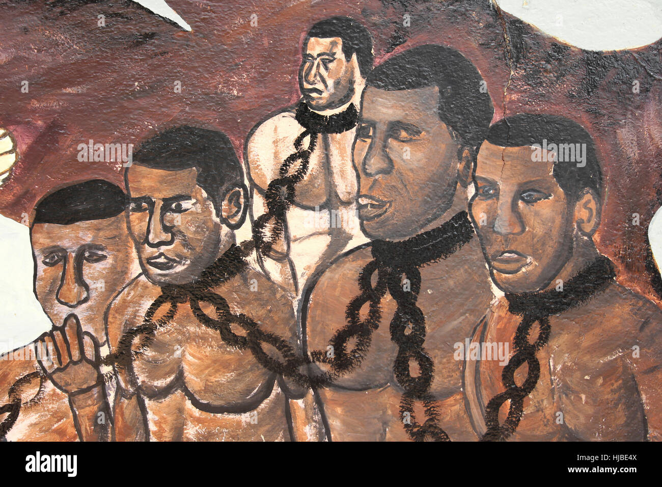 A Mural Depicting Slaves Assin Manso, Ghana - Stock Image