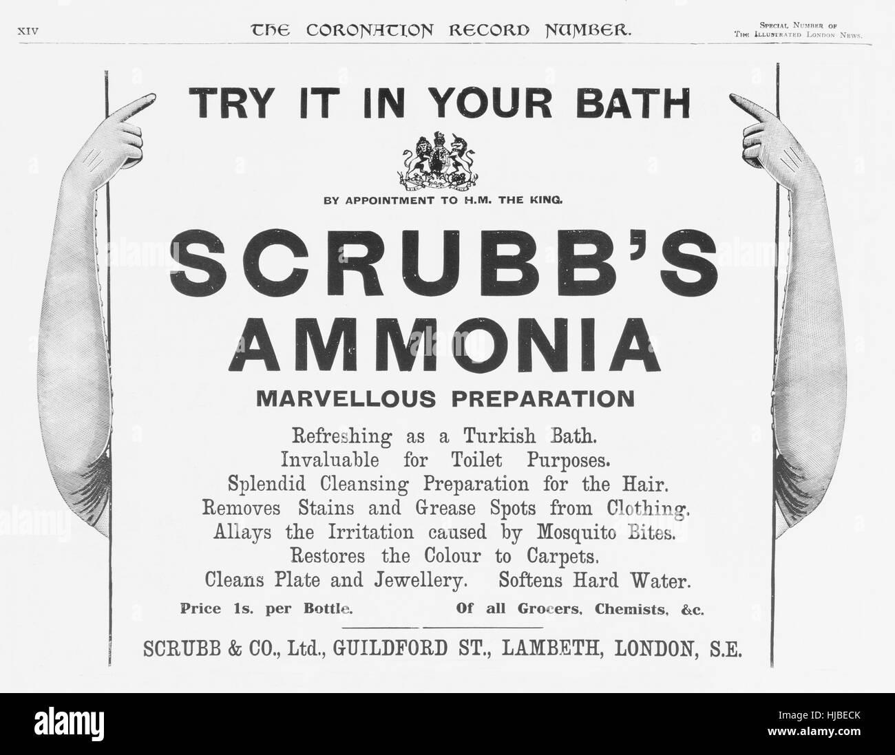 Scrubb's Ammonia advert in The Illustrated London News, 1911 Stock