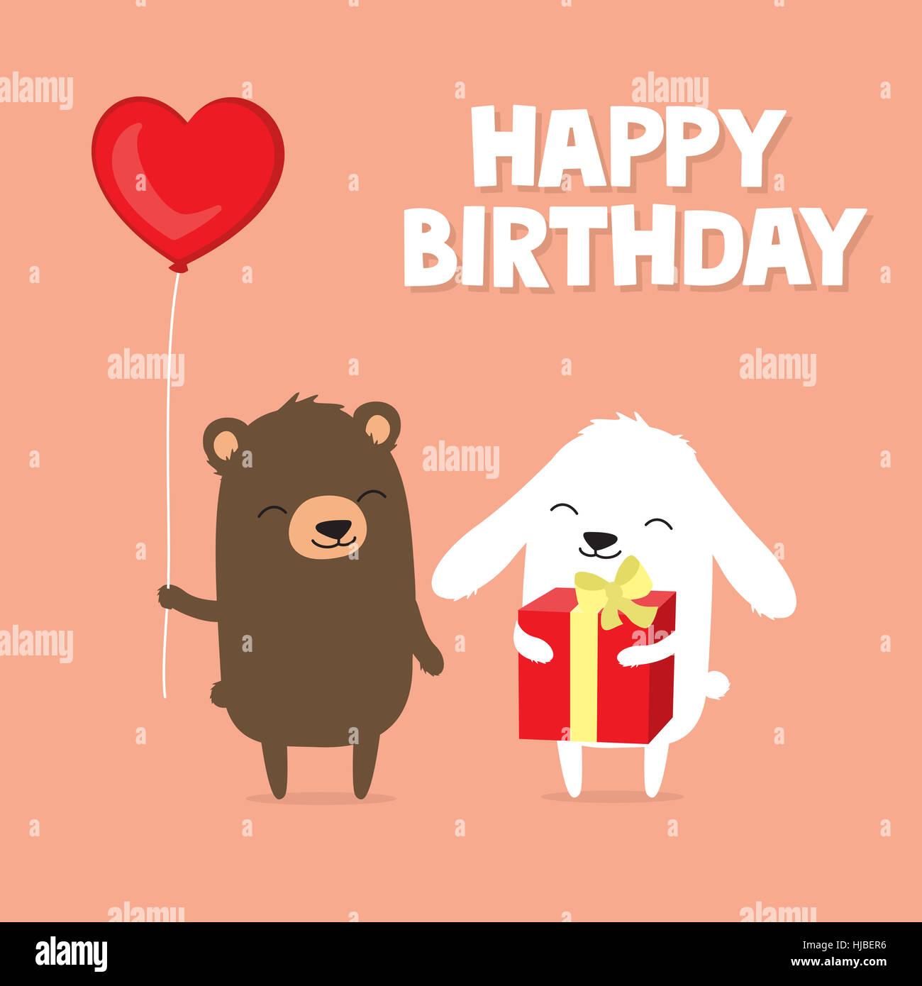 Birthday Greeting Card With Cute Cartoon Bear And Bunny Rabbit Holding Balloon Gift