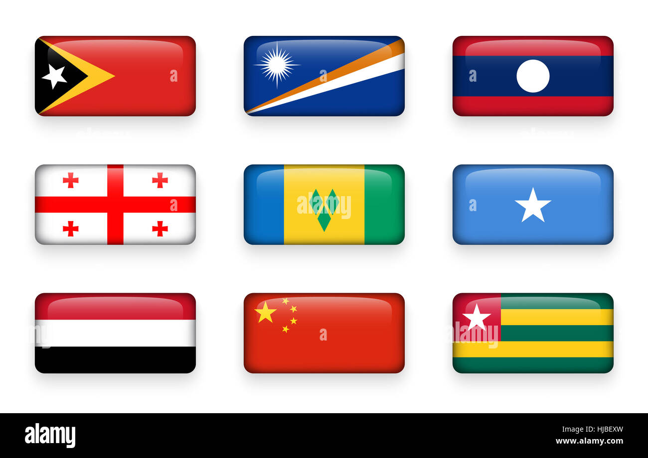 Set of world flags rectangle buttons ( East Timor . Marshall Islands . Laos . Georgia . Saint Vincent and the Grenadines - Stock Image