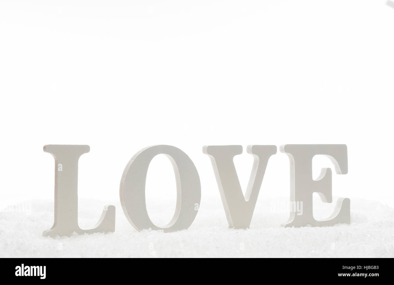 Love letter of wooden isolated on white - Stock Image