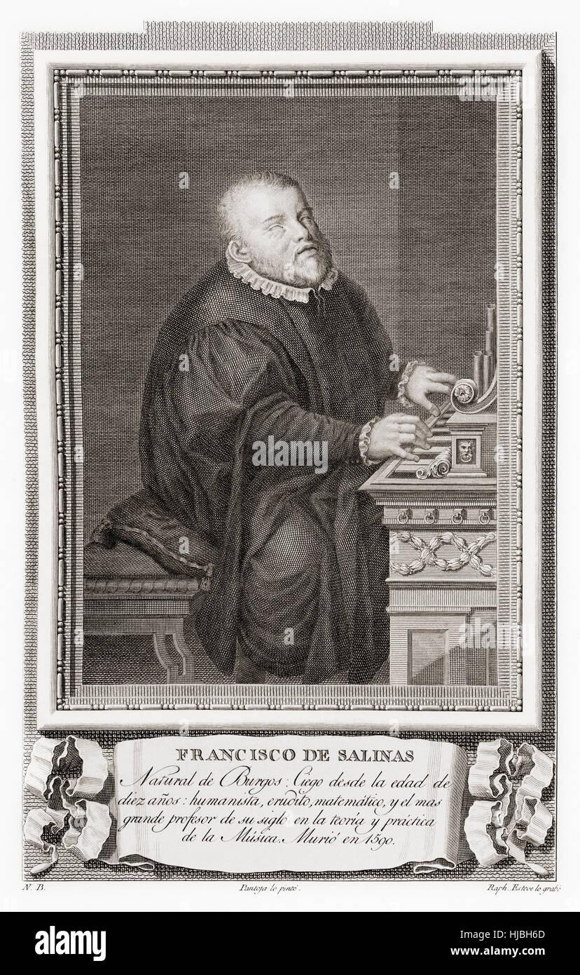Francisco de Salinas, 1513 – 1590.  Spanish music theorist and organist.  After an etching in Retratos de Los Españoles - Stock Image