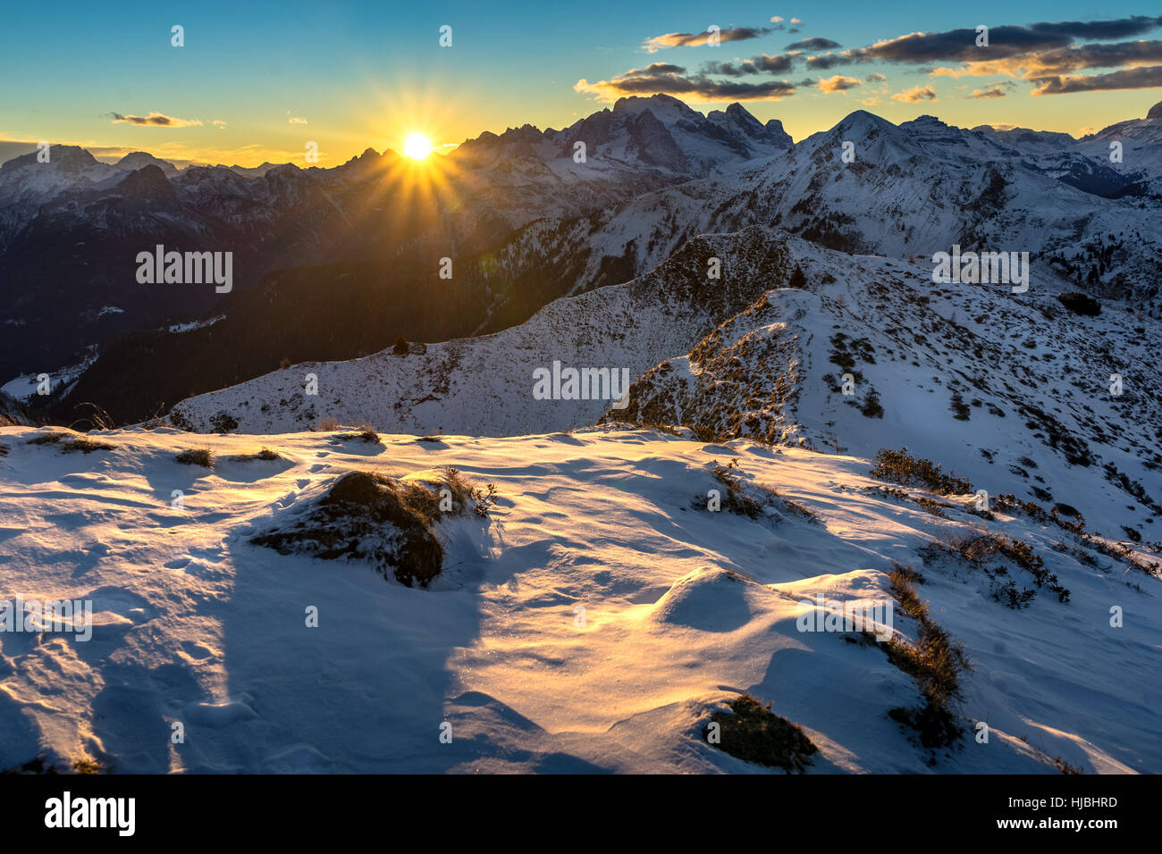 Passo Giau or Giau Pass at sunset near Cortina d`ampezzo in the Italian Dolomites - Belluno - Italy - Stock Image