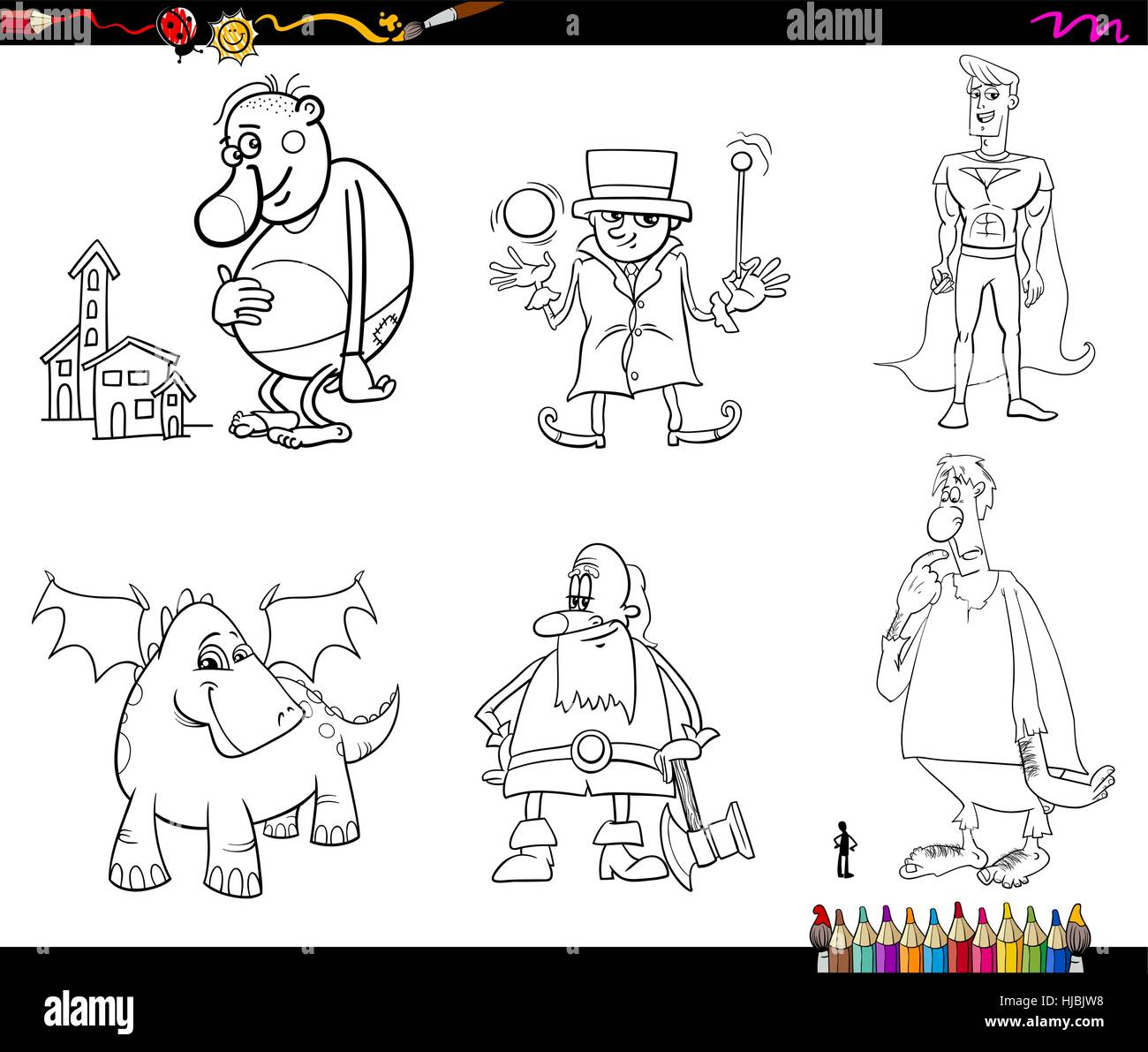Black and White Cartoon Illustrations of Fantasy or Fairy Tale Characters Set Coloring Page Stock Vector