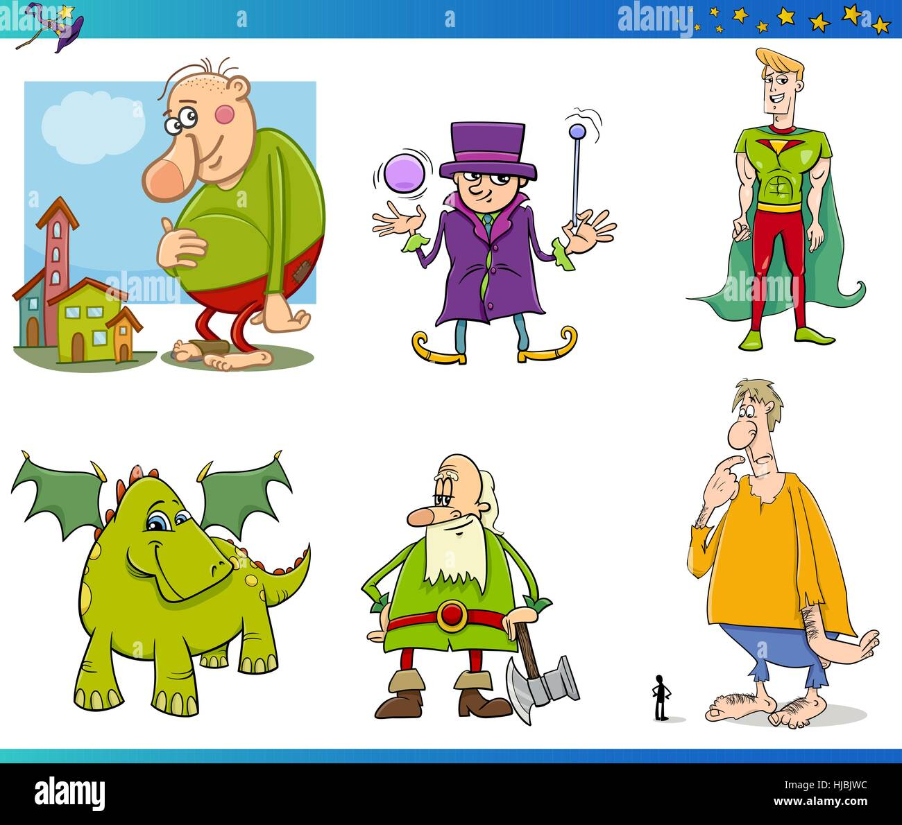 Cartoon Illustrations of Fantasy or Fairy Tale Characters Set Stock Vector