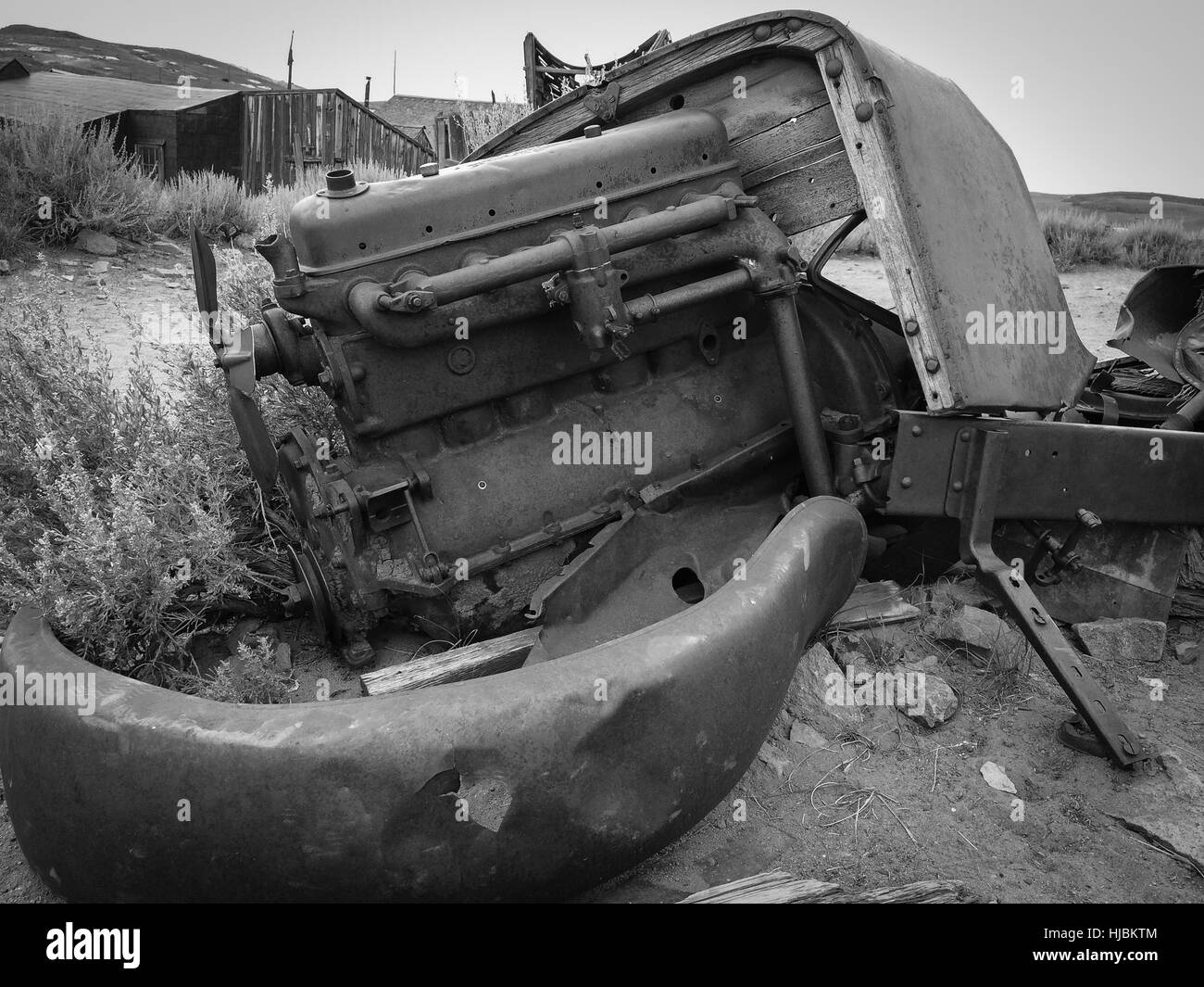 Abandonned engine's car,Bodie Ghost Town,California,USA. - Stock Image