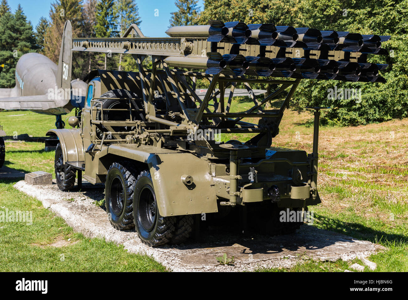 Historical military Russian (Soviet) multiple rocket launcher Katyusha BM-8/BM-13 from second world war, photo from - Stock Image