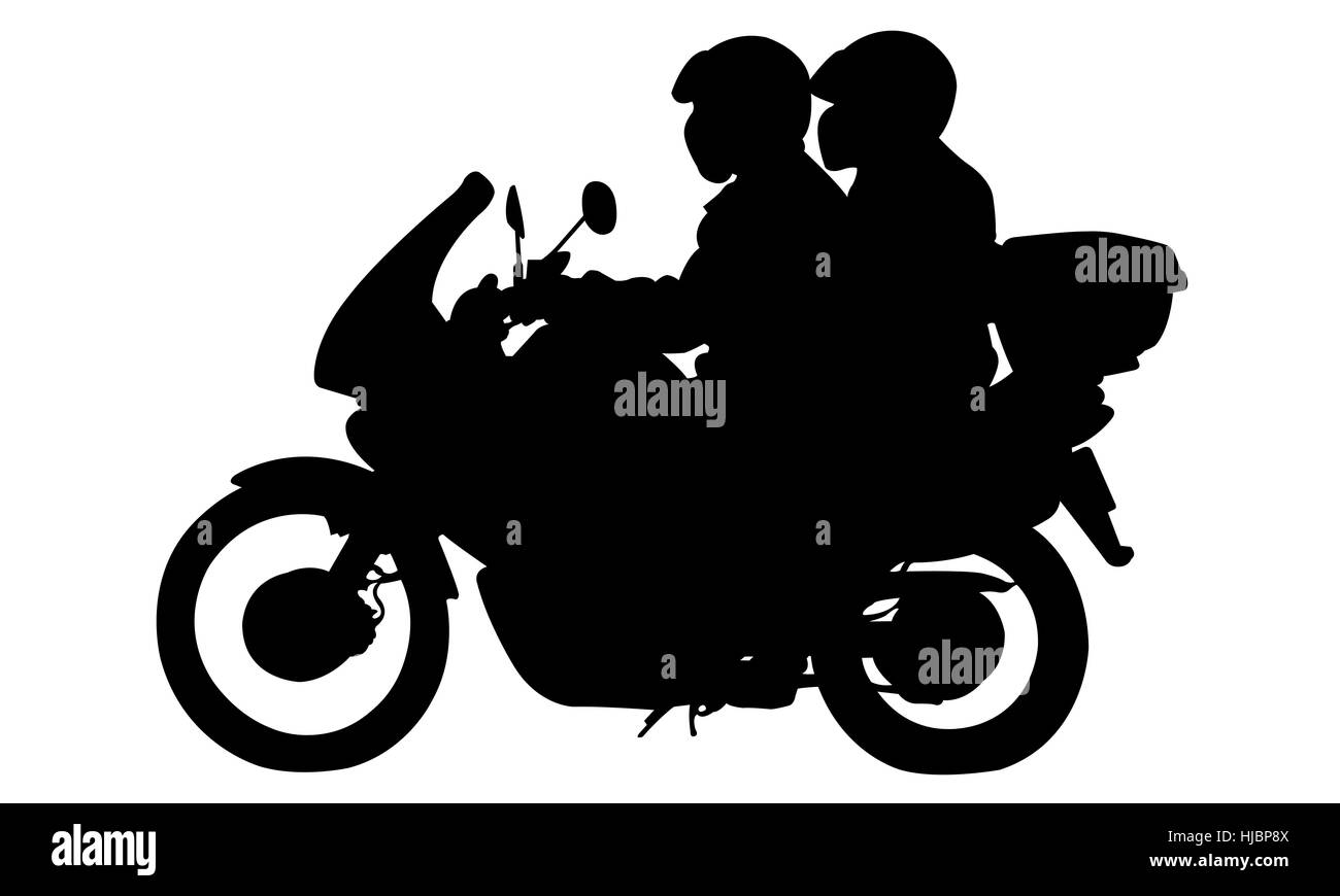 illustration of a motorcycle with riders isolated - Stock Image