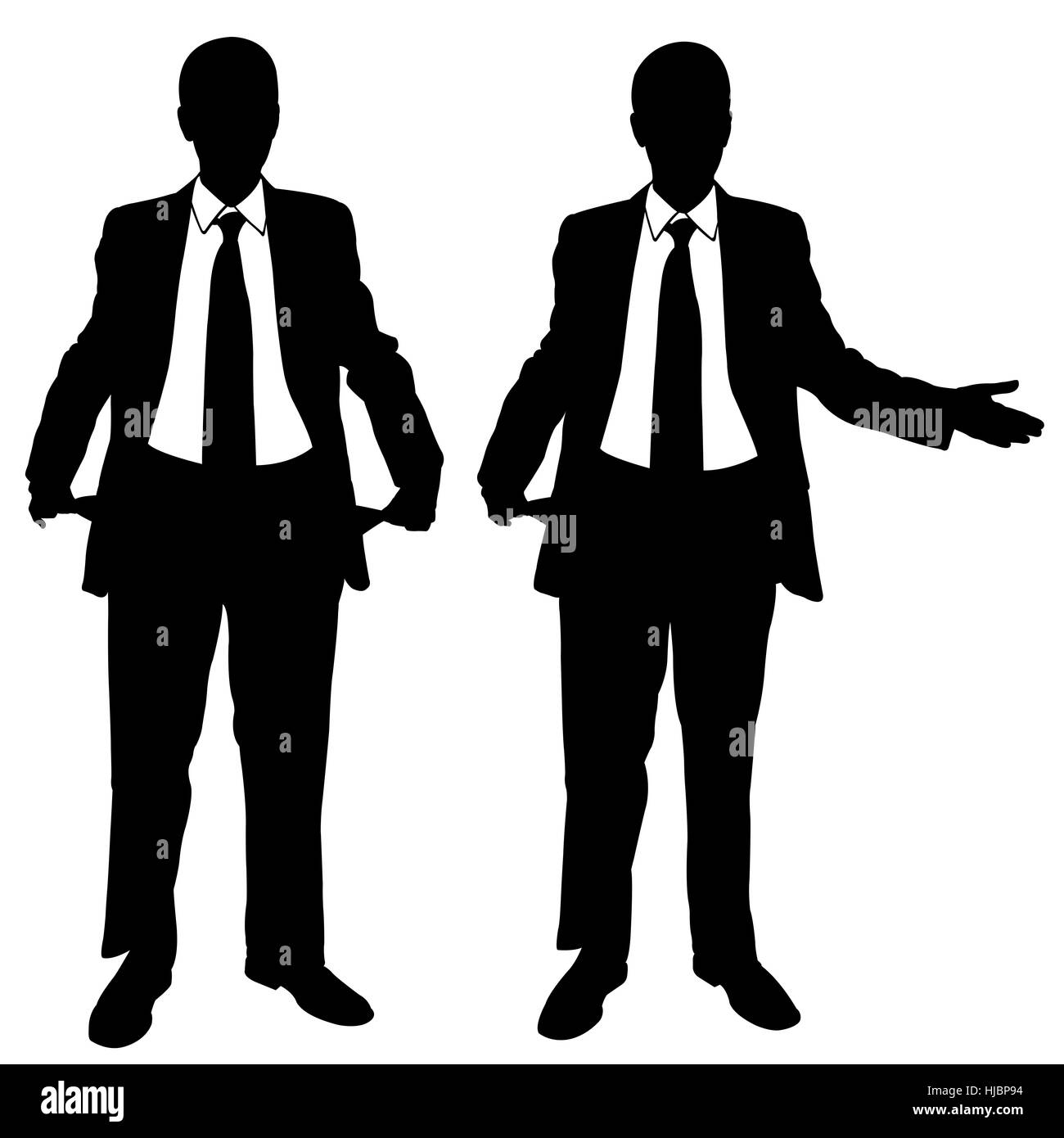 silhouettes of broke businessmen isolated - Stock Image