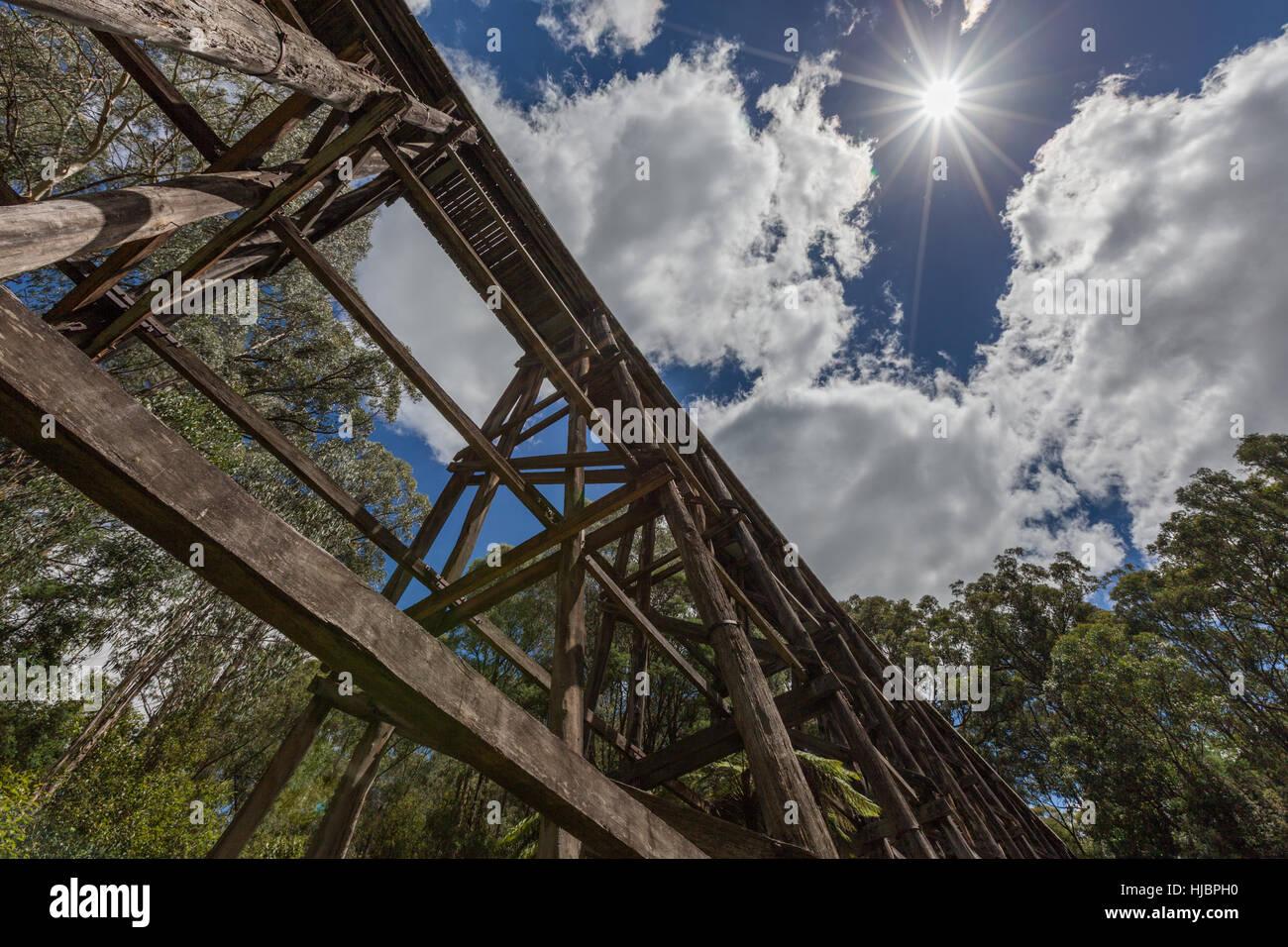Old trestle bridge on hot summer day in Australia - Stock Image