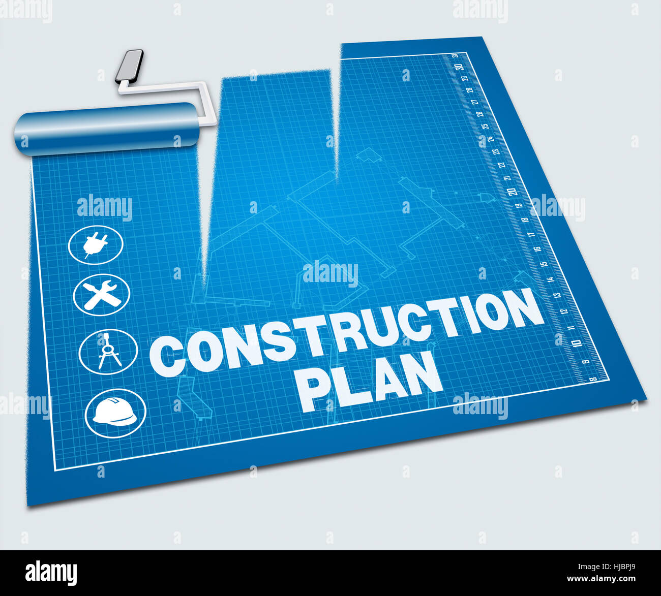 Construction plan paint roller shows building blueprint 3d stock construction plan paint roller shows building blueprint 3d illustration malvernweather Image collections