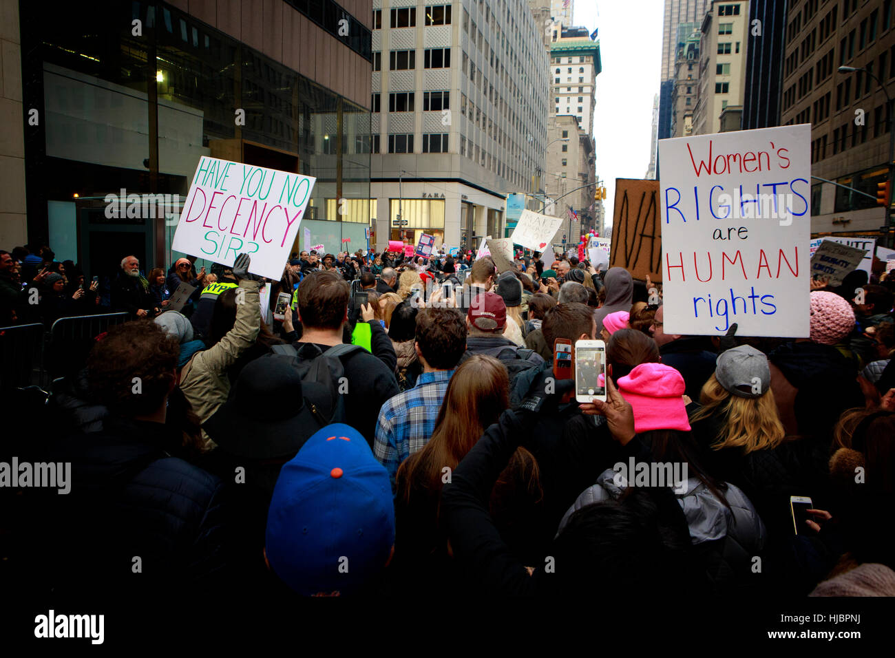 Protester's at the NYC Women's March - Stock Image