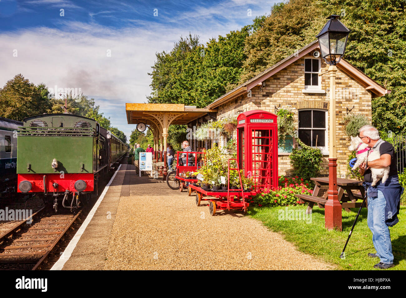 Steam train of the Nene Valley Railway at Ferry Meadows Station, near Peterborough, Cambridgeshire, England, UK - Stock Image