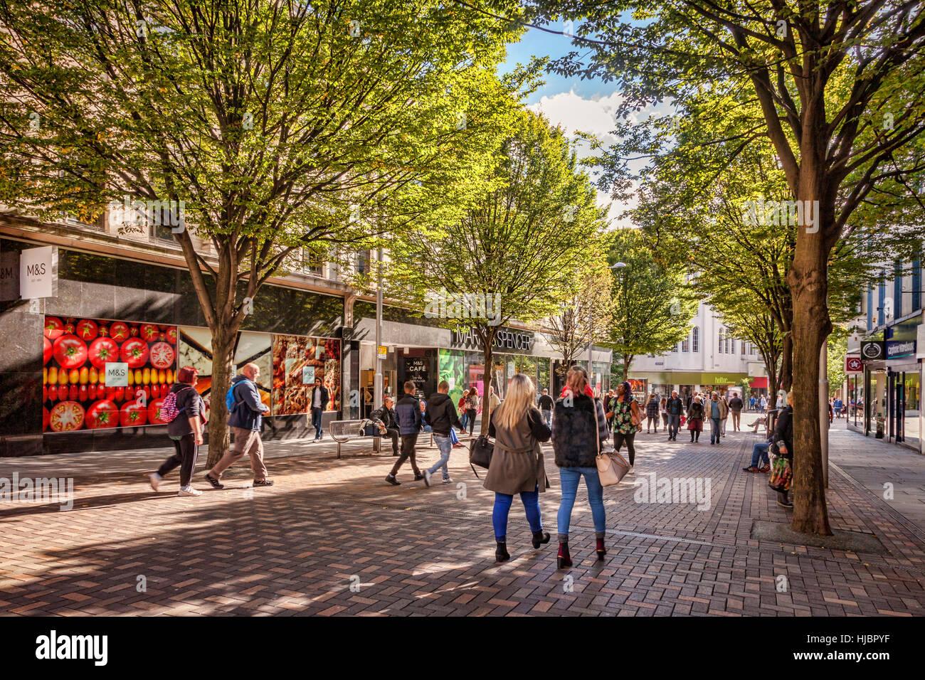People shopping in Albert Street, Nottingham, England, UK - Stock Image
