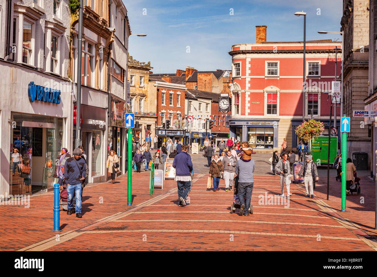 People shopping in the centre of Derby, Derbyshire, England, UK - Stock Image