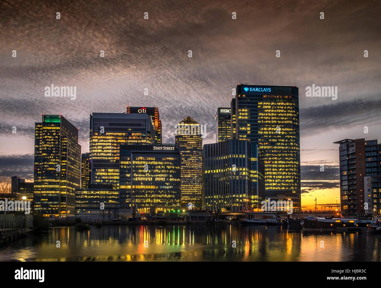 Canary Wharf Sunset, London Docklands, London, England, UK - Stock Image