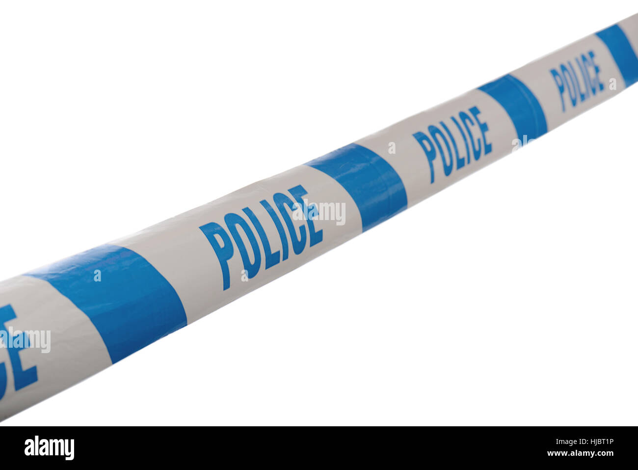 Blue and White Police Line Do Not Cross Tape Line at Angle isolate don a white background - Stock Image