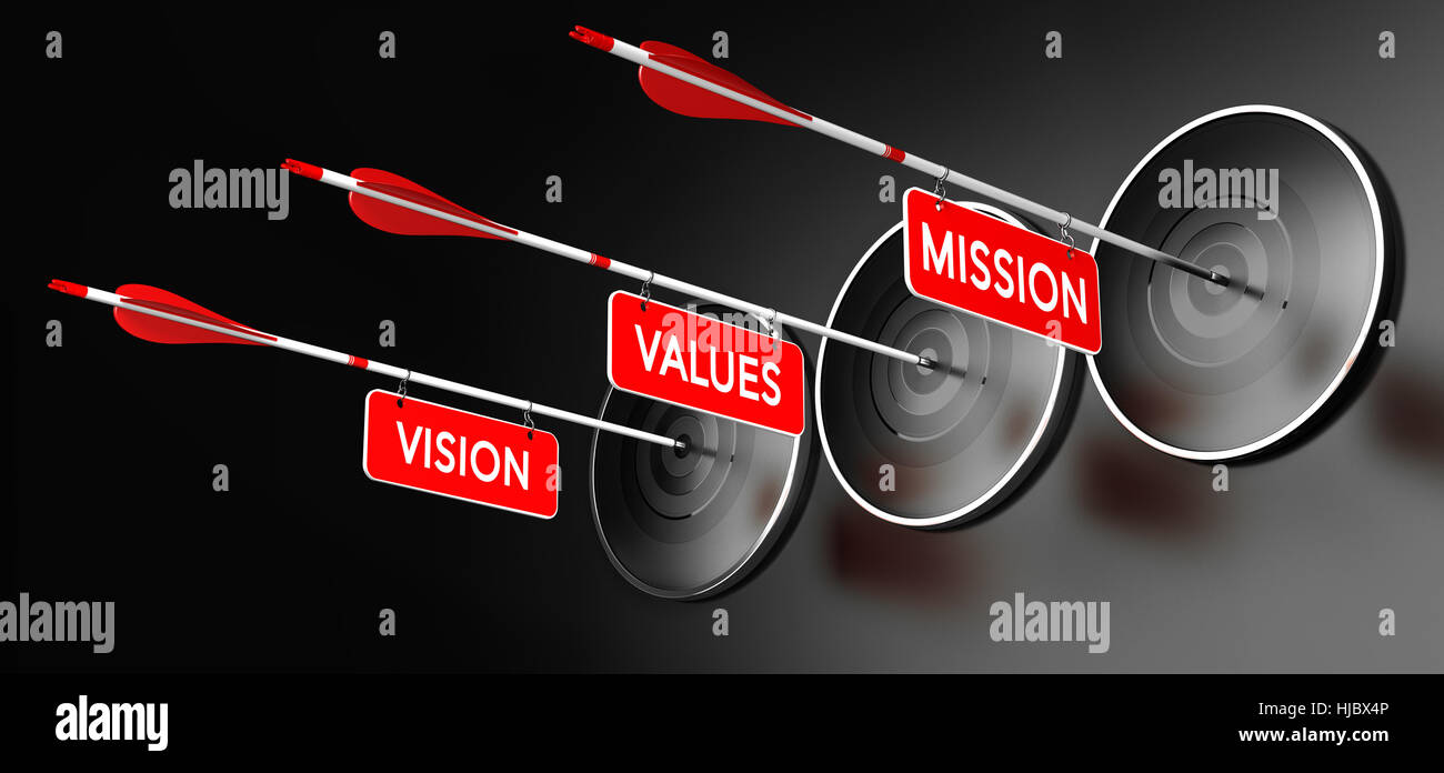 3D illustration of arrows with red signs where it is written vision, mission and values hitting modern targets over - Stock Image