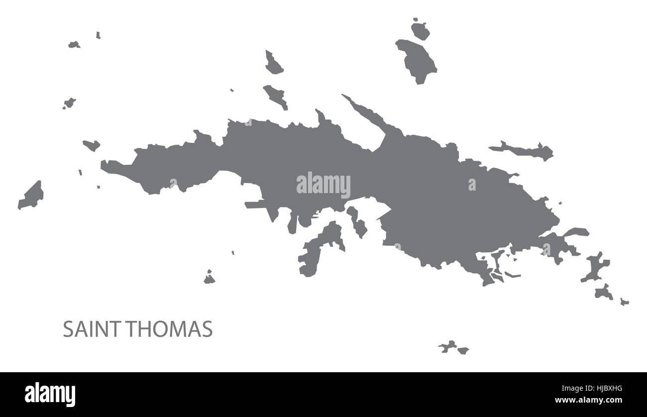 saint thomas united states virgin islands map in grey