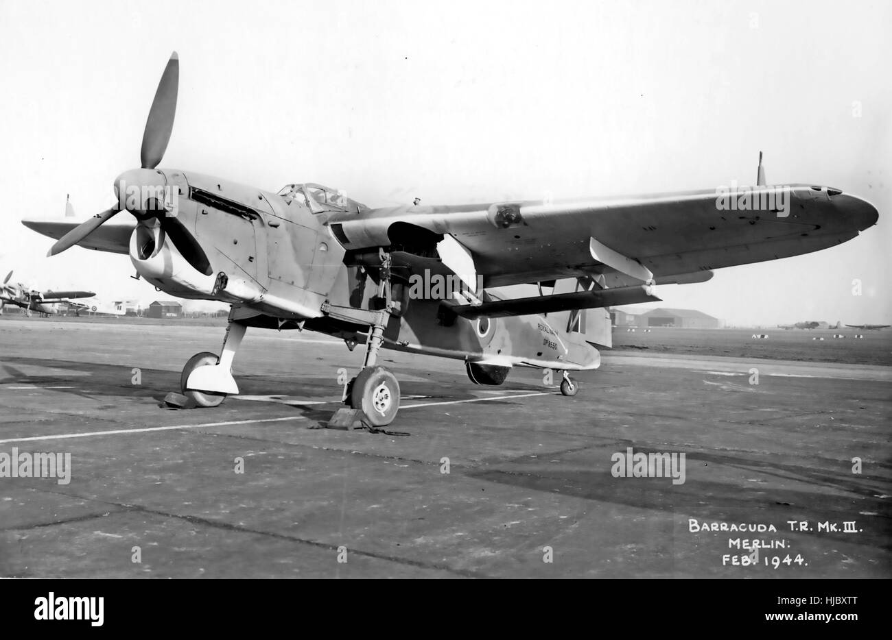 FAIREY BARRACUDA T.R. Mk III with Merlin engine in February 1944. The blister under the rear fuselage contains the - Stock Image