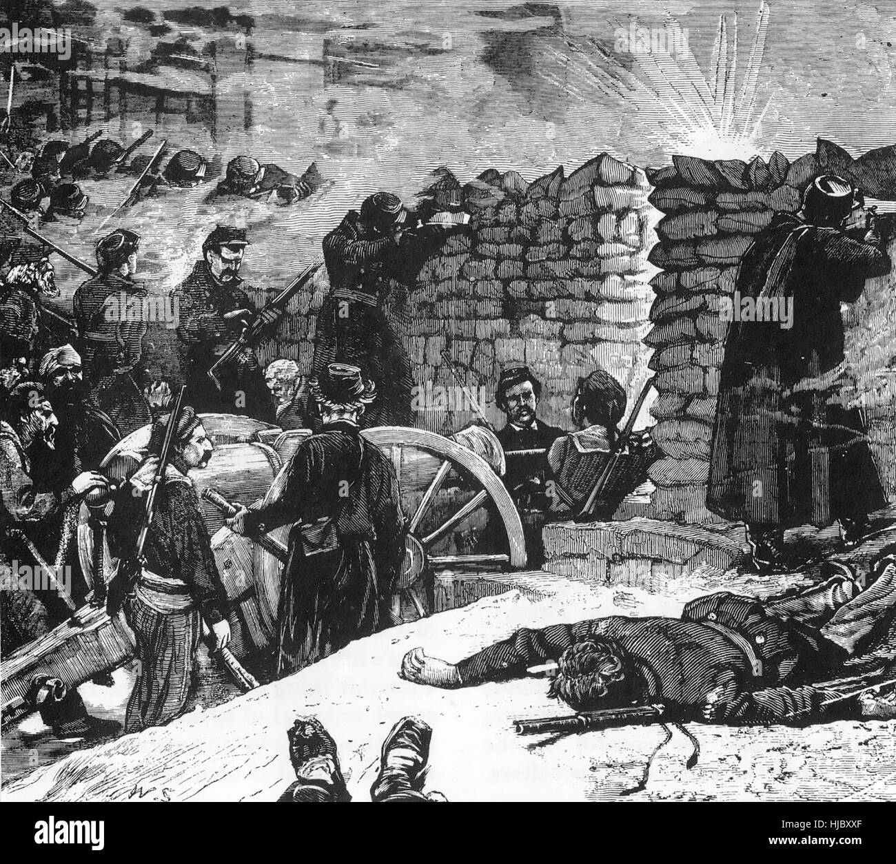 FRANMCO-PRUSSIAN WAR 1871 Commune soldiers at the barricades - Stock Image