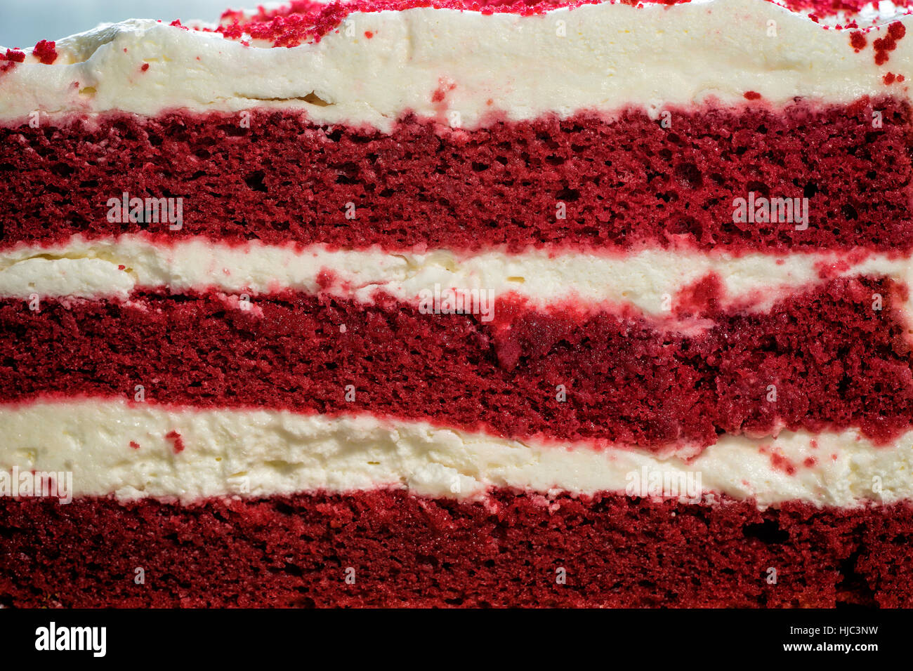 face cut of red velvel cake on macro image - can use to display or montage on product - Stock Image