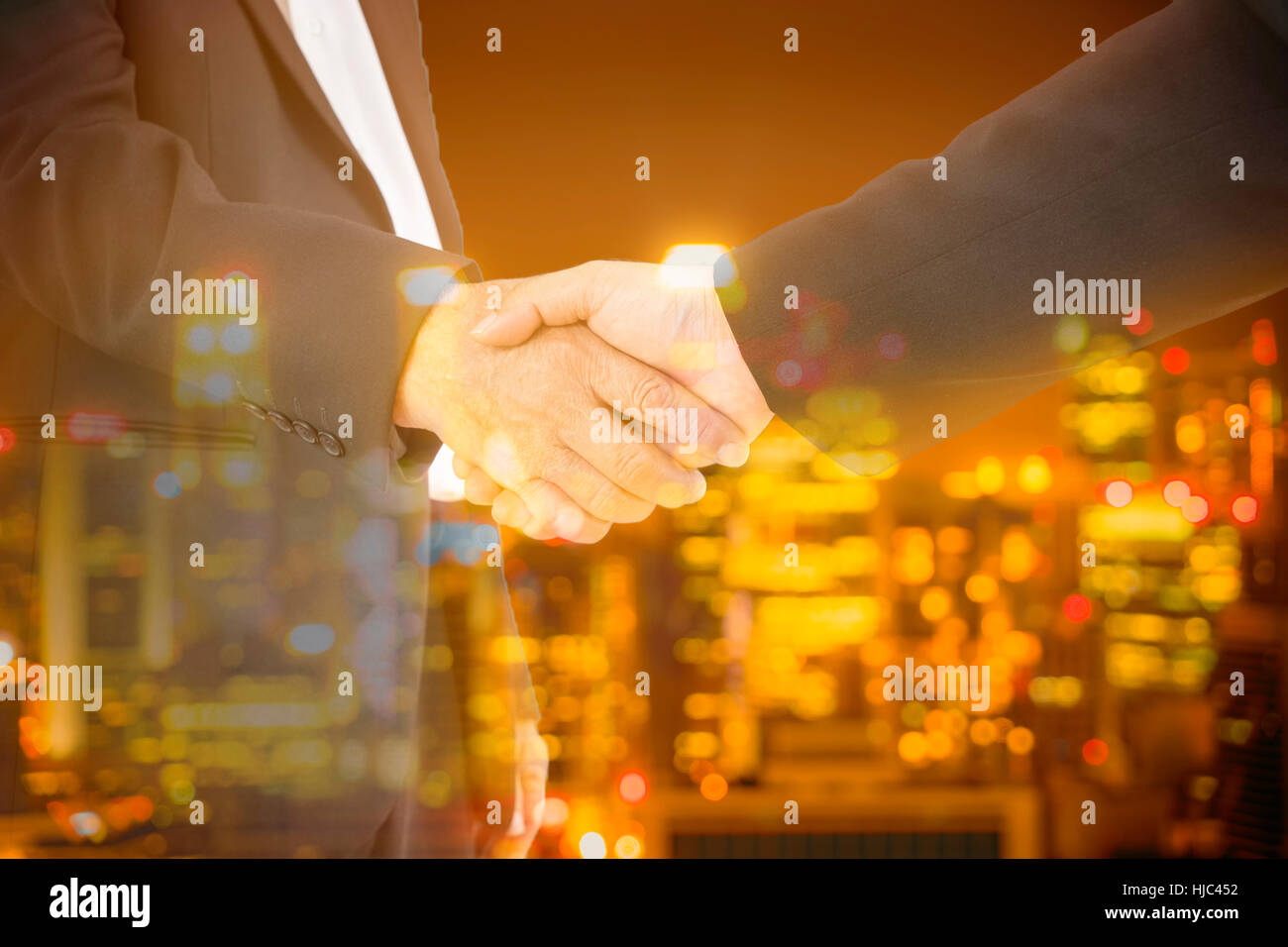 double exposure of commitment businessman and city bokeh light - can use to display or montage on product - Stock Image