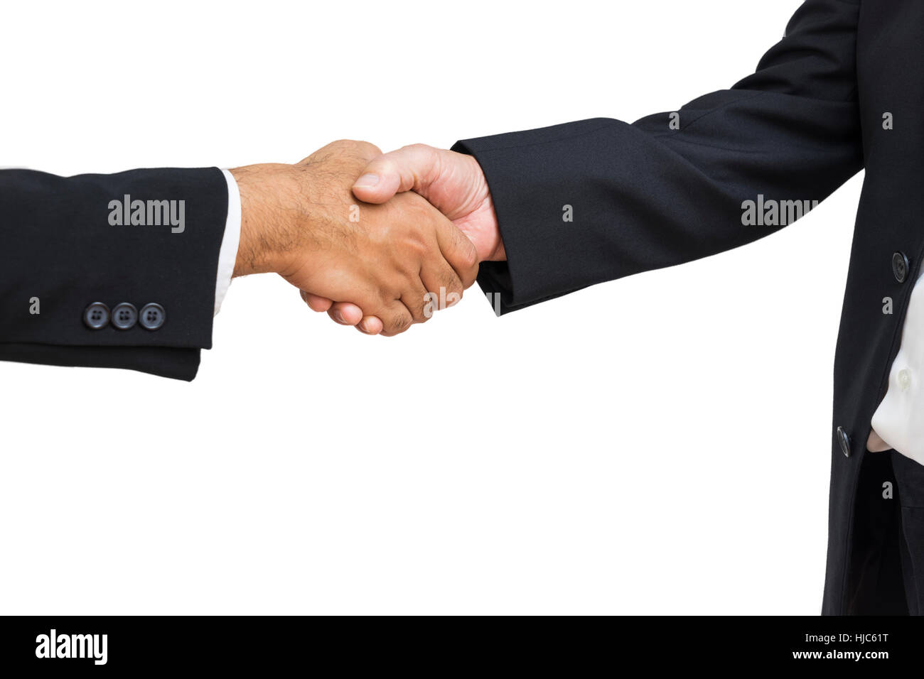 scene of hand shaking of businessman for commitment on isolate - can use to display or montage on product - Stock Image