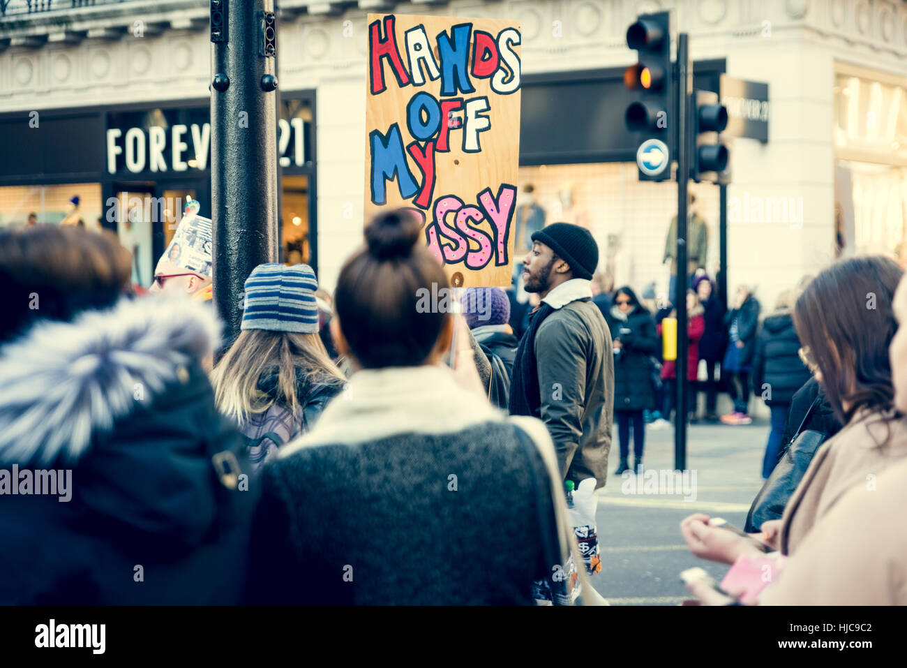 21st of january 2017, march of women at oxford street, London, UK Stock Photo
