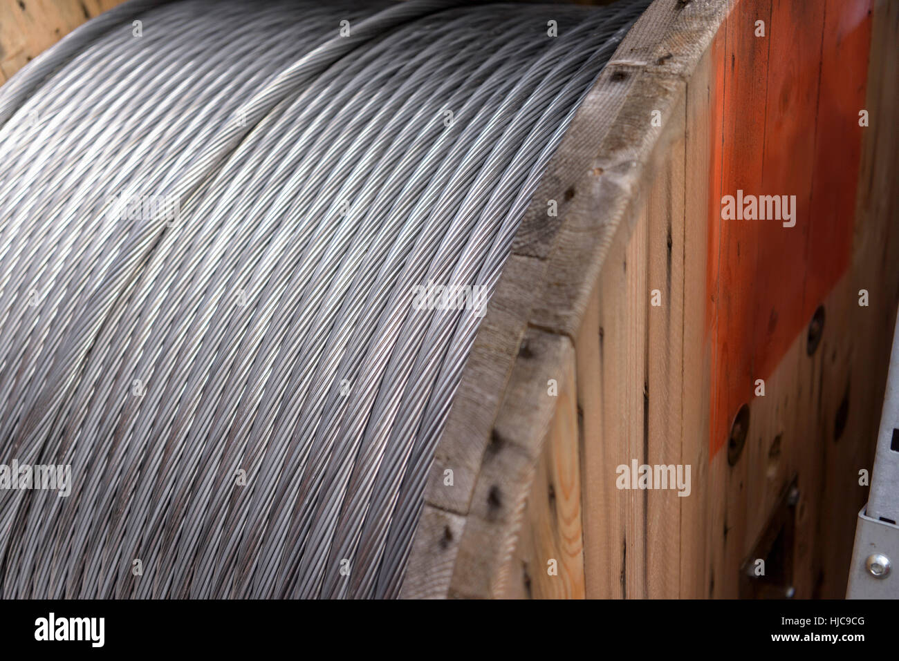 Electrical cable reel at cable storage facility, close up - Stock Image
