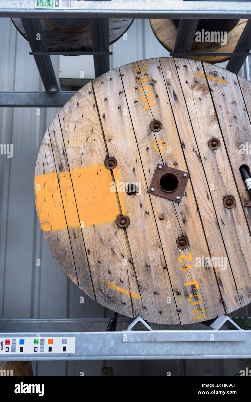Electrical cable reel at cable storage facility - Stock Image