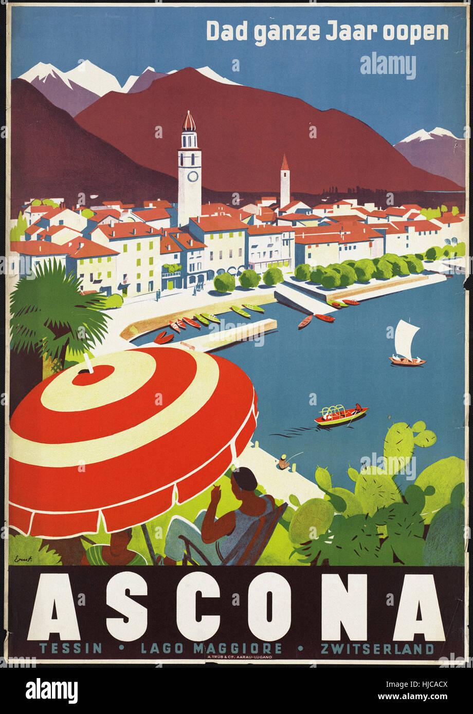 Ascona. Dad ganze Jaar oopen  - Vintage travel poster 1920s-1940s - Stock Image