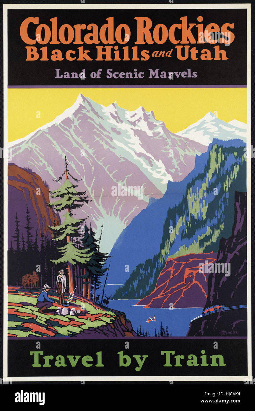 Colorado Rockies, Black Hills, and Utah. Land of scenic marvels. Travel by train  - Vintage travel poster 1920s Stock Photo