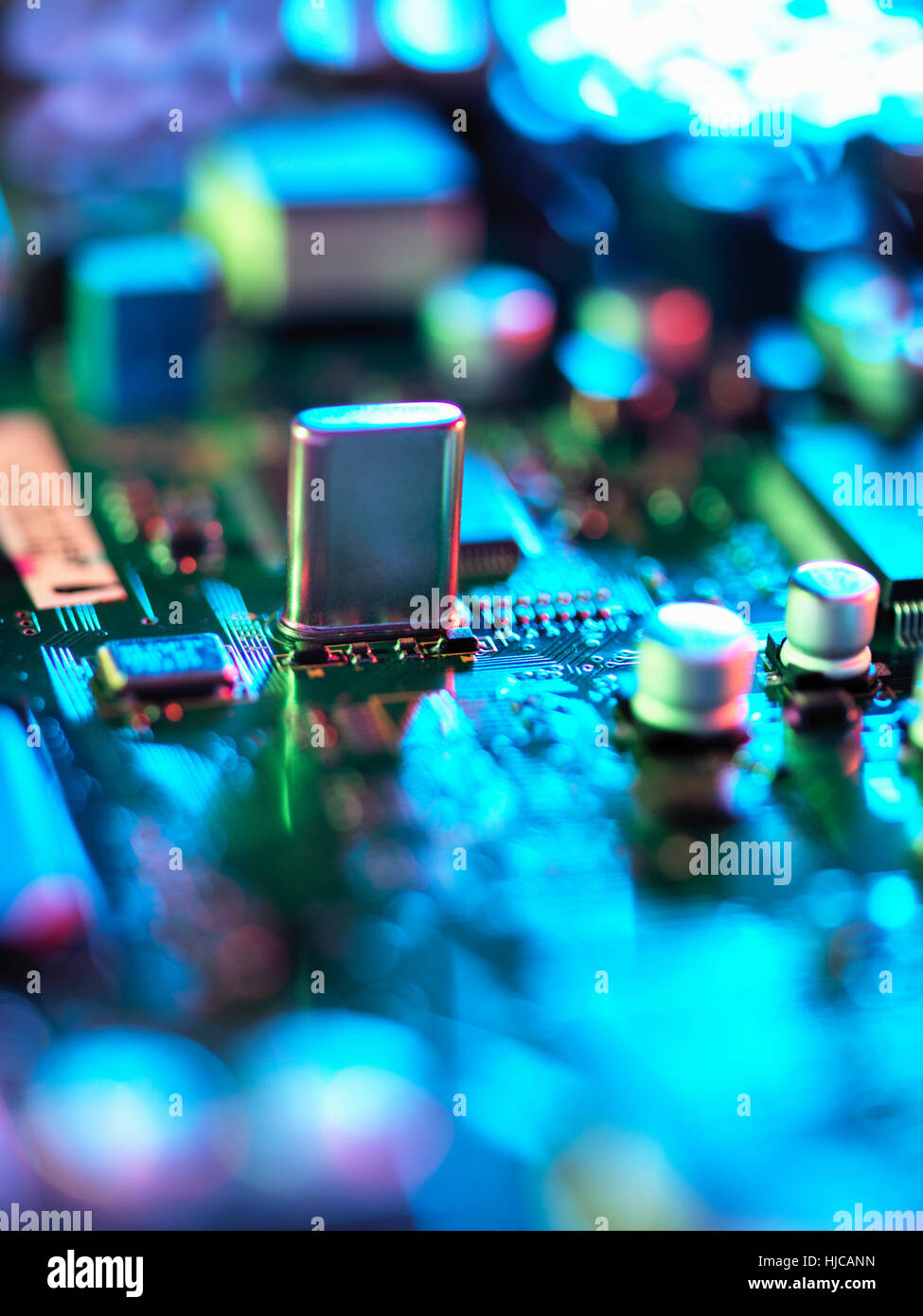 Close up of hi-tech electronic circuit board - Stock Image