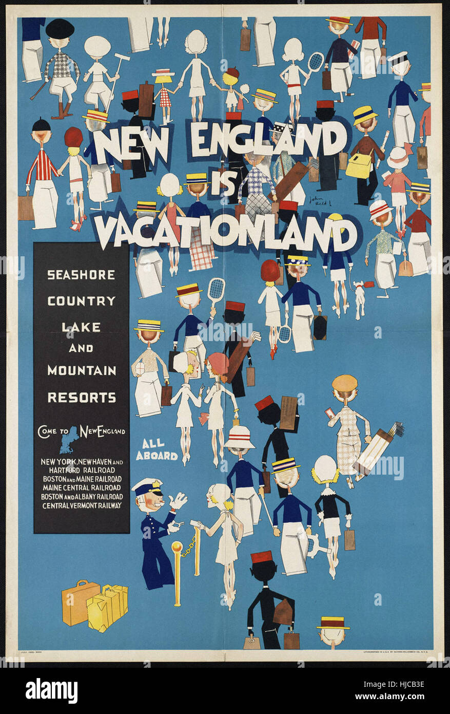 New England is vacationland. Seashore Country lake and mountain resorts  - Vintage travel poster 1920s-1940s - Stock Image