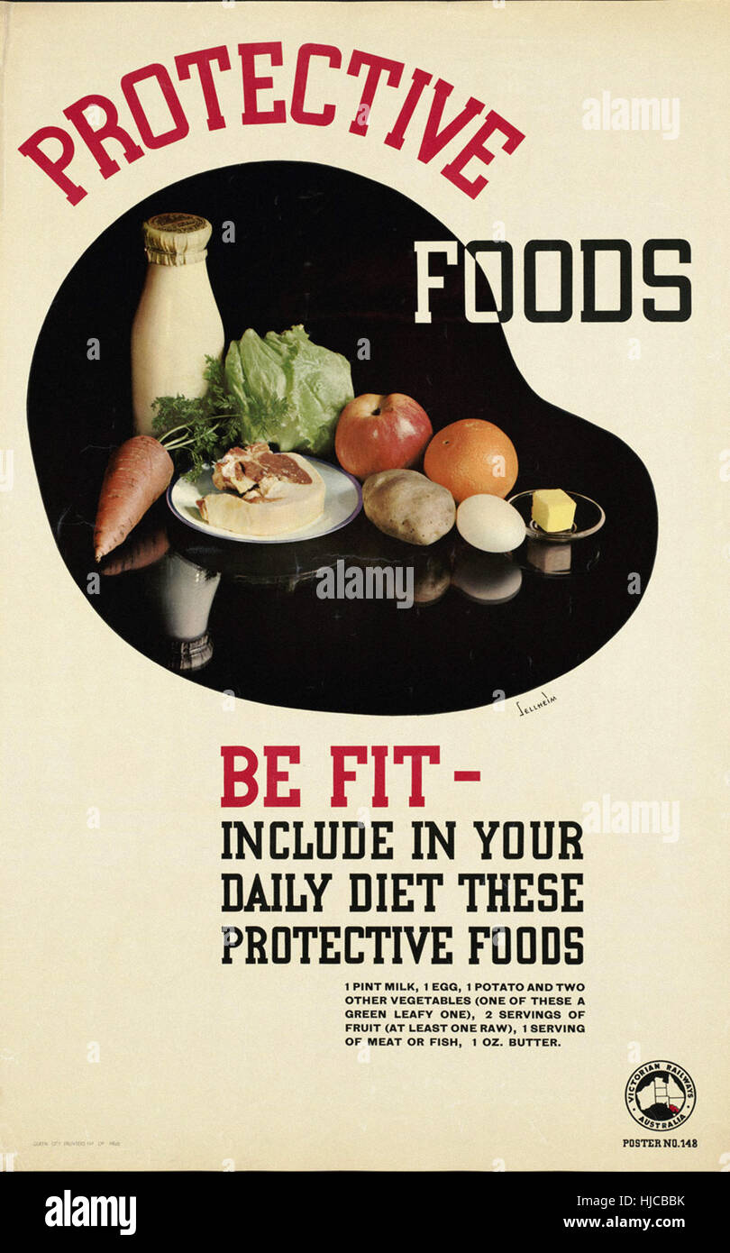 Protective foods. Be fit - include in your daily diet these protective foods  - Vintage travel poster 1920s-1940s Stock Photo