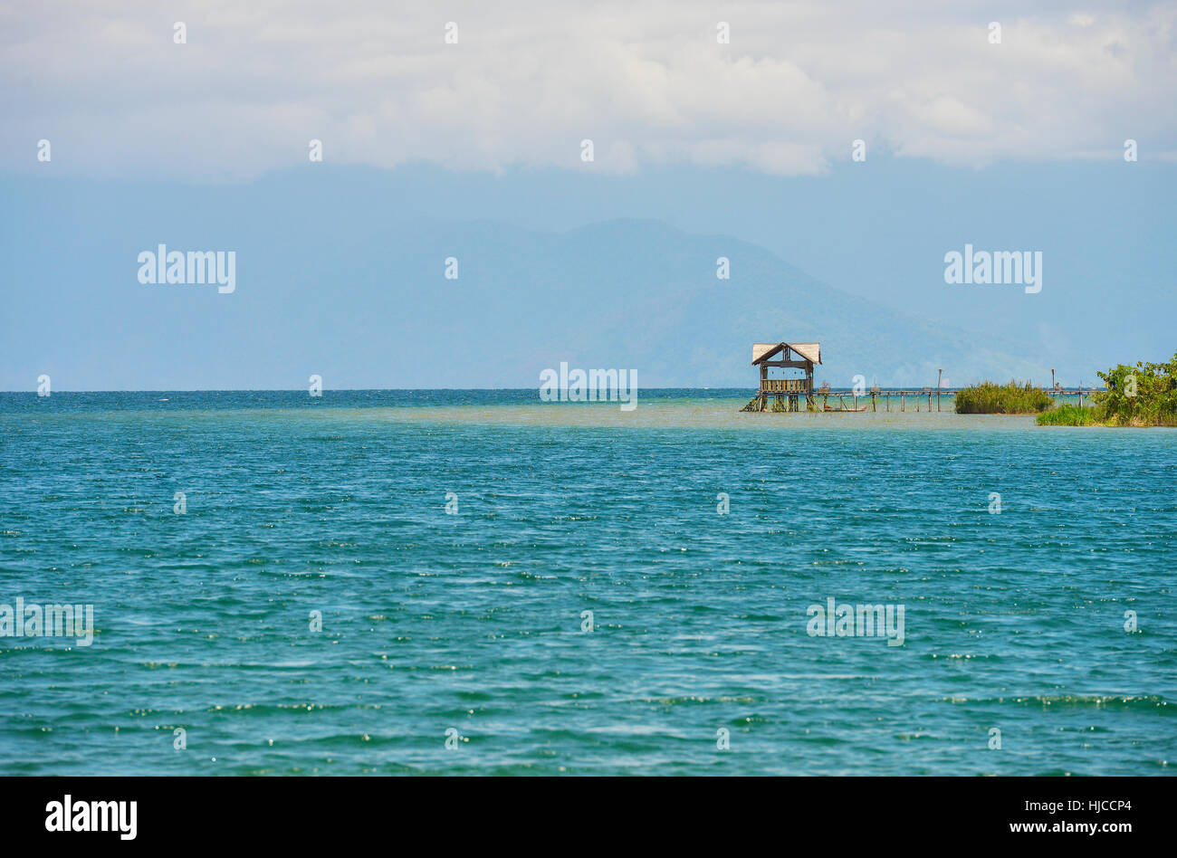 Panoramic view of a beach in Sulawesi, Indonesia. - Stock Image