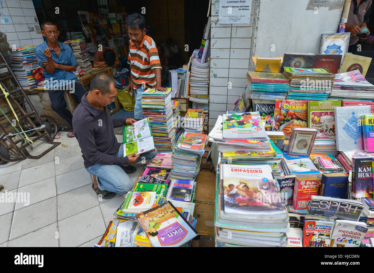 Jakarta, Java, Indonesia - August 25: Second-hand bookstores on a street on August 25, 2016 in Jakarta, Java, Indonesia. - Stock Image