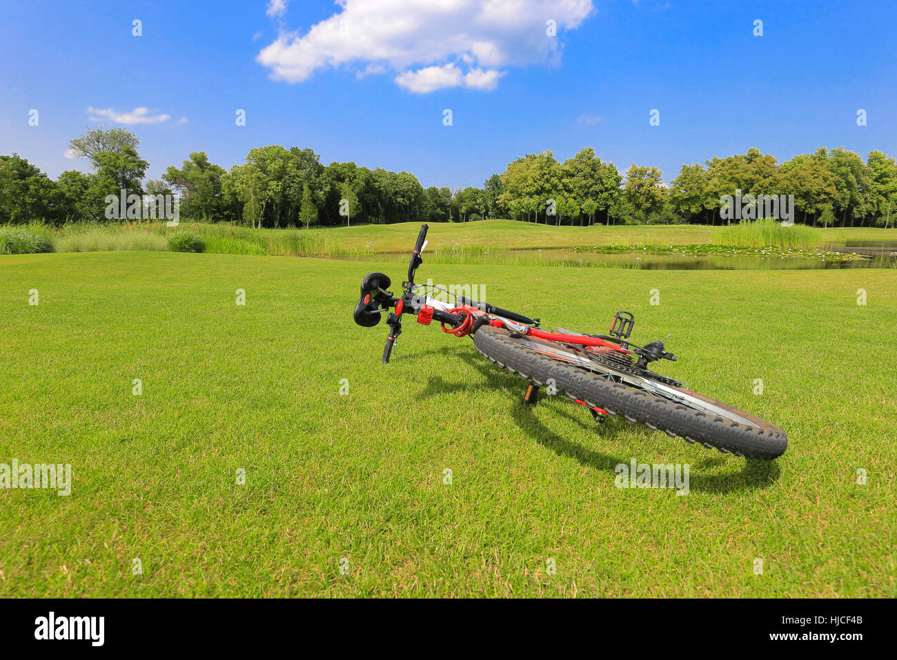 Bicycle on the grass - Stock Image