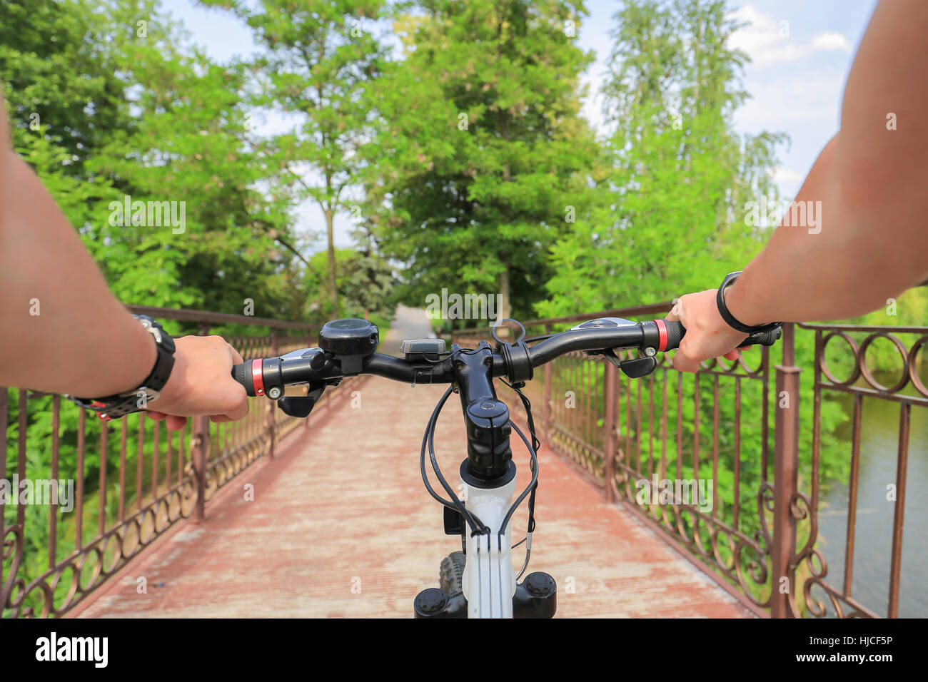 Bicycle. First person view - Stock Image