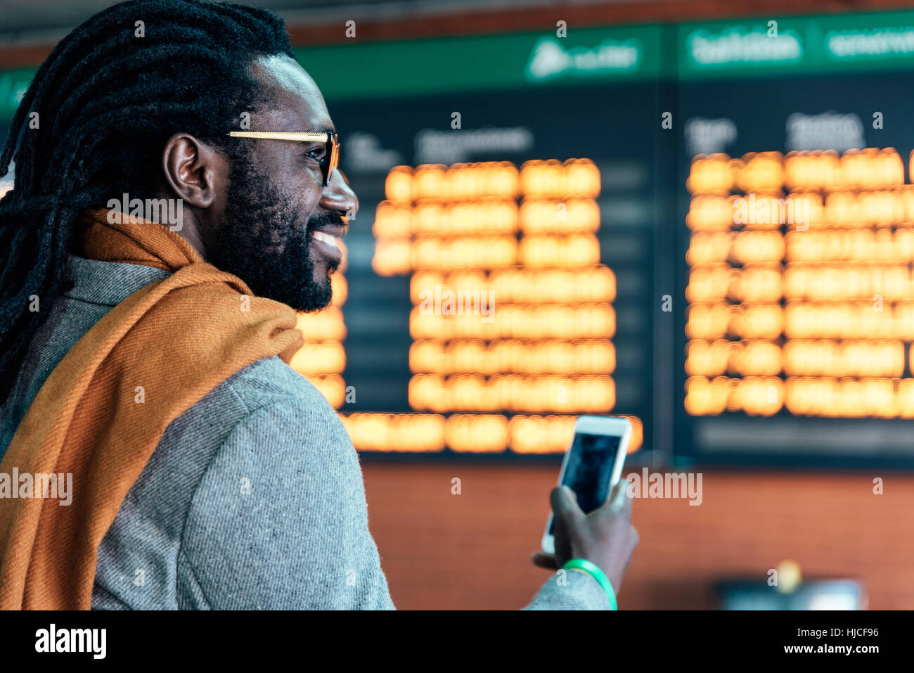 Businessman in the Train Station. Business Concept - Stock Image