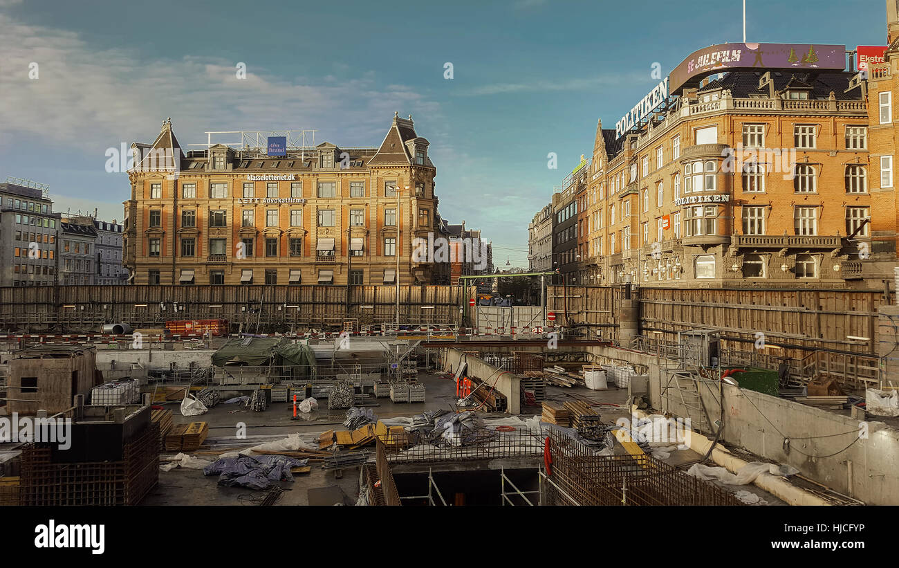COPENHAGEN, DENMARK - DECEMBER 23, 2016. Construction site for a new metro station, on town hall square. - Stock Image