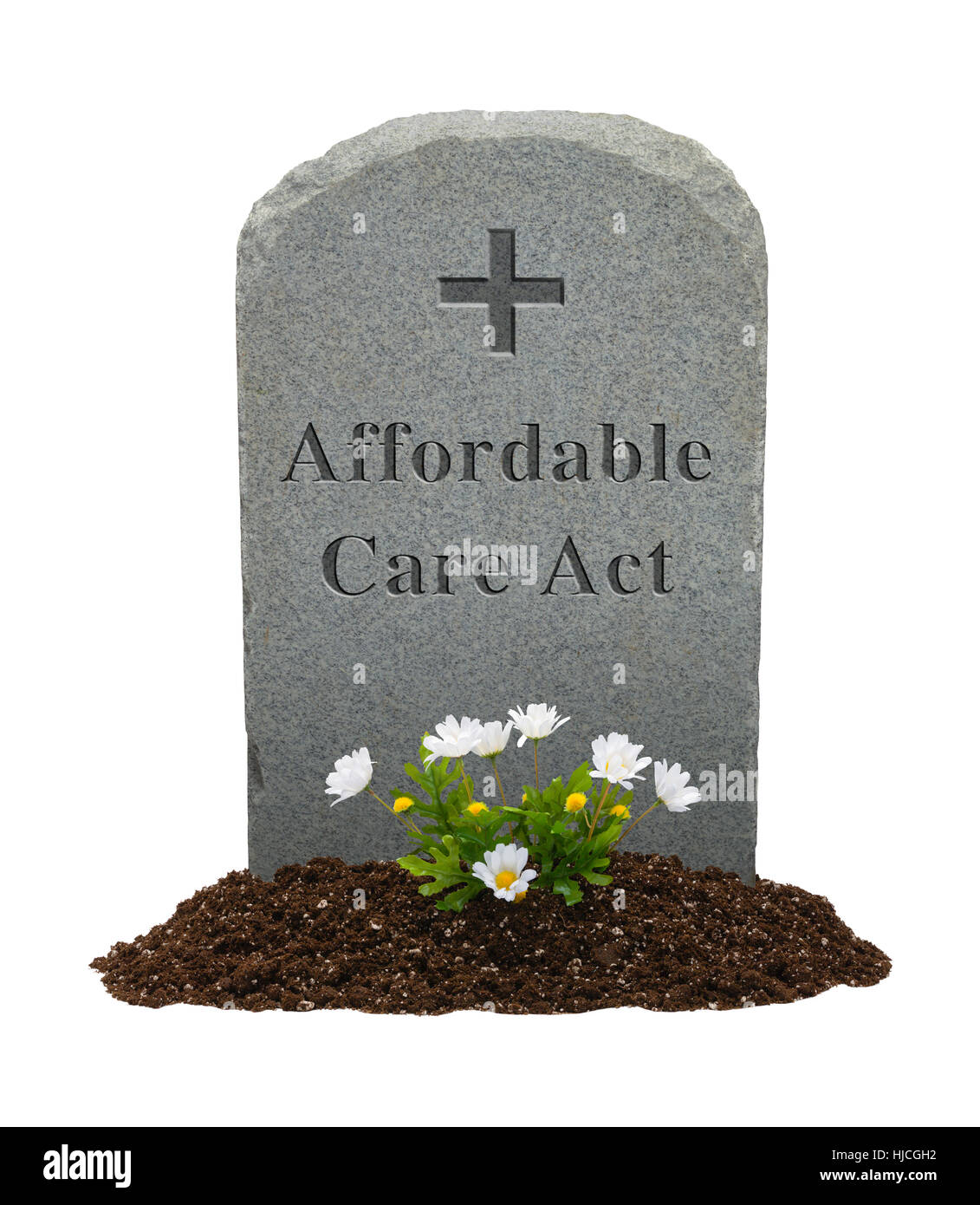 Affordable Care Act Gravestone Isolated on White Background. - Stock Image