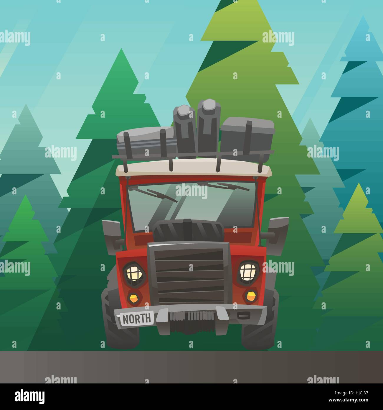 Red loaded truck ride through the summer forest - Stock Vector