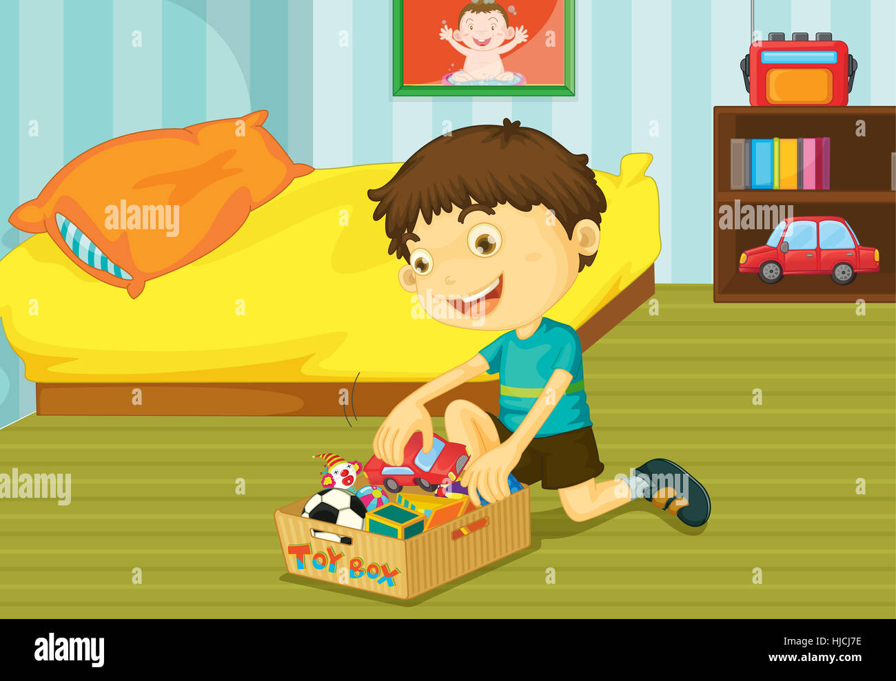 Objects Room Bed Person Illustration Tidy Bedroom