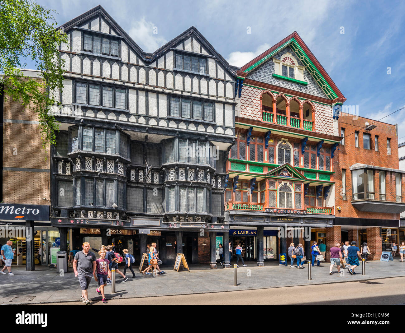Great Britain, South West England, Devon, Exeter, venerable building facades at Exeter High Street - Stock Image