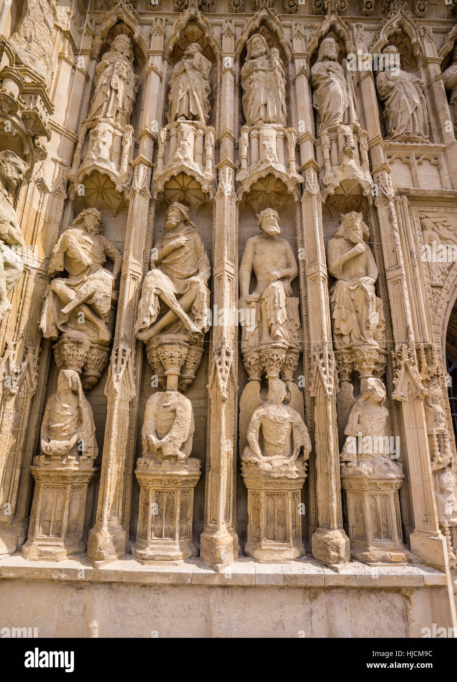 Great Britain, South West England, Devon, Exeter, Exeter Cathedral, elaborate stone carvings of angels, saints, - Stock Image
