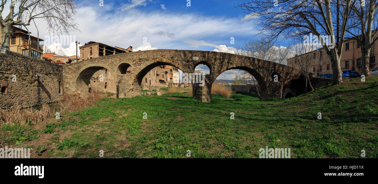stone, bridge, spain, roman, old, barcelona, river, water, vic, catalonia, - Stock Image