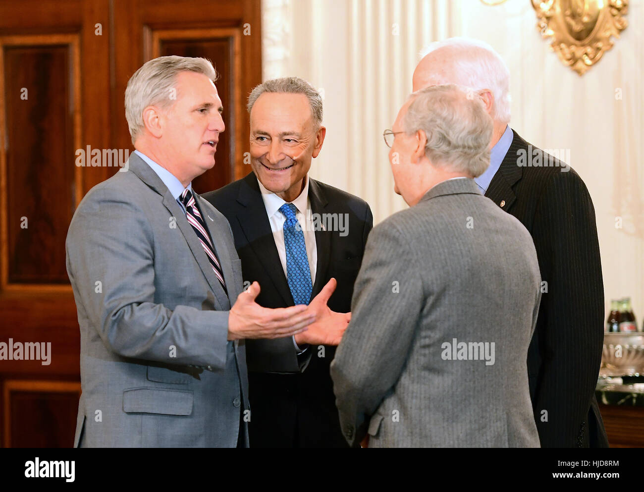 United States House Majority Leader Kevin McCarthy (Republican Of  California), Left, Engages In Conversation With US Senate Minority Leader  Chuck Schumer ...